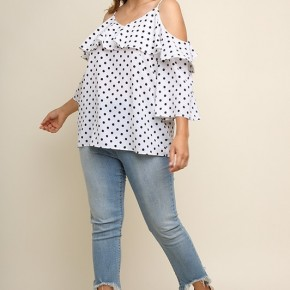 Polka Dot Print Ruffle Bell Sleeve Open Shoulder Top