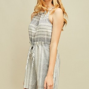Striped high-neck romper