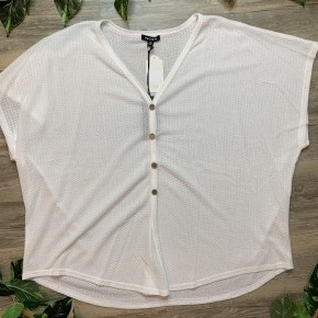 Waffle Textured White Top with Buttons