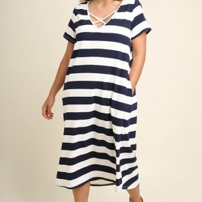 Striped Midi Tee Dress with a Crossed V-Neck