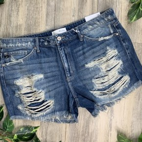 KanCan Medium Colored Heavy Distressed Shorts