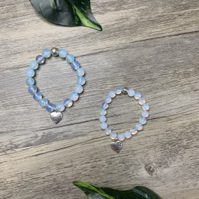 """Mommy & Me Moonstone Heart Paws- 10mm & 8mm (7"""")"""