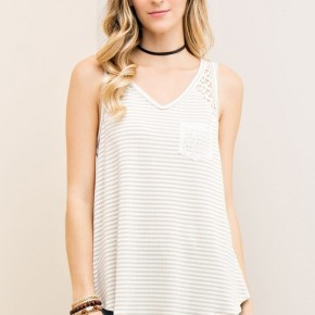 Striped high-low style top