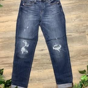 Cuffed Distressed Boyfriend Jeans
