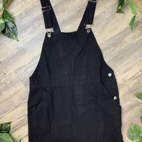 Black Jean Overall Dress with Fray Hem