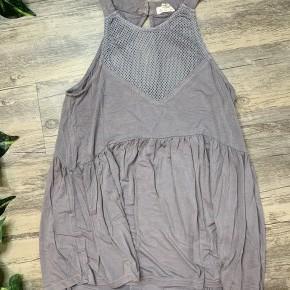 Grey Mesh Detailed Sleeveless Babydoll Top