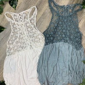 Sleeveless Crochet Babydoll Top with Back Tie