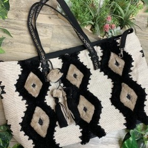 White & Black Fringe Weekender Bag