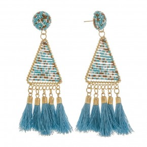Long triangle earring with tassel