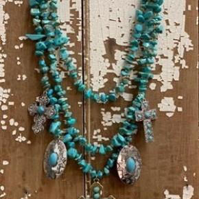 Tri-Strand Turq. Bead Necklace