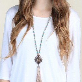 Leopard Sparkle Pendant with tassel on Aqua and Tan Beaded Necklace
