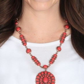 Red Concho Oval Necklace