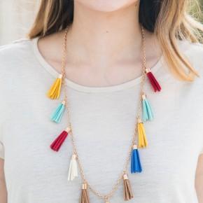 Multicolored Tassel Pendant necklace, Gold