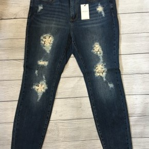 Lace Patch Skinny Jeans
