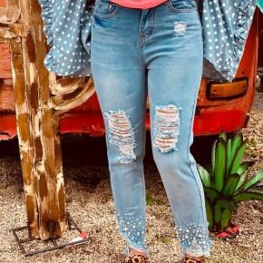 Distressed Pearl Trim Denim Jeans