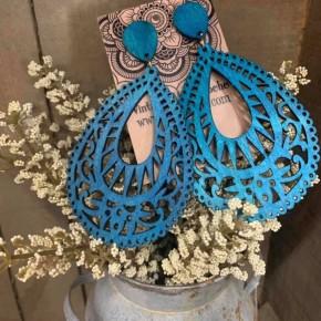 Wooden Earrings  Teal