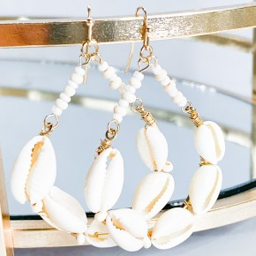 Cowry Shell & Bead Circle Earrings