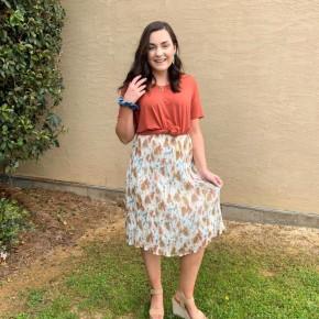 'Set The Bar' Floral Midi Skirt