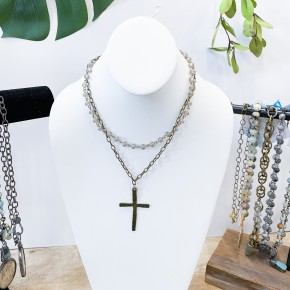 Double Layered Cross Necklace