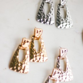 Hammered metal Trapezoid earring