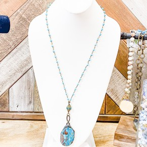 Teal Stone Pendent Necklace