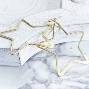 Flat Plated Star Earrings
