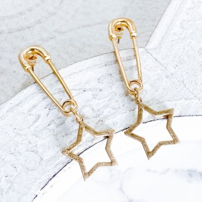 Star Charm Safety Pin Earrings