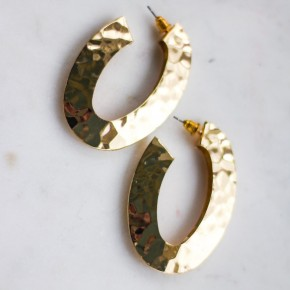 Hammered gold oval earrings