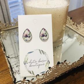 Purple Floral Teardrop Earrings