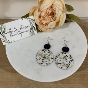 White Cork/Leather Earrings