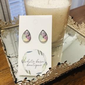 Patchwork Floral Teardrop Earrings
