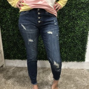 Exposed Button Skinny-KanCan