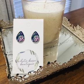 Navy Floral Tear Drop Earrings