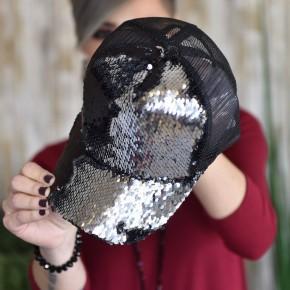 Black/Silver Sequin Hat