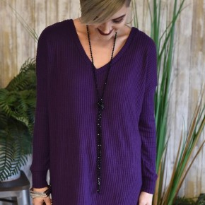 Dark Purple Waffle Knit L/S Top