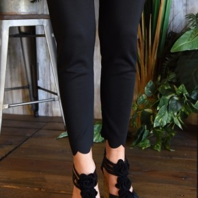 Black Scalloped Skinny Pants