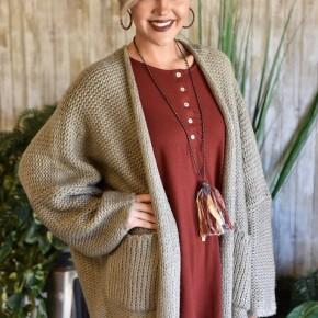 Heather Brown Chunky Oversized Cardigan