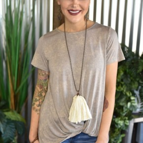 Taupe Caged Back Top