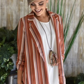 CLEARANCE Rust Striped Blazer