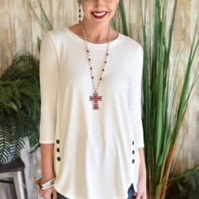 Ivory  3/4 Sleeve Side Button Top