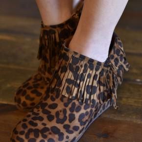 Leopard Retro Fringe Booties