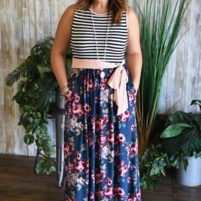 Teal Floral Belted Maxi Dress