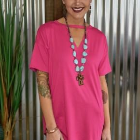 Pink Textline V Neck Top
