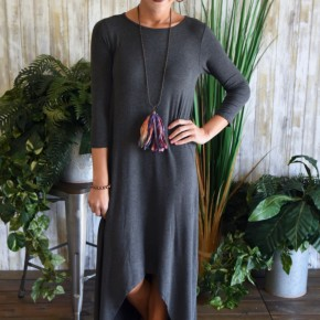 Charcoal 3/4 Sleeve High Lo Maxi Dress