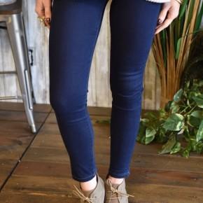 Super Dark Wash Elastic Band Skinny Jeans