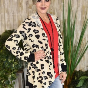 CLEARANCE Hooded Leopard Knit Cardigan