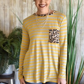 Mustard Striped Cheetah Top