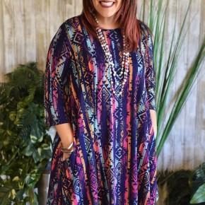 Aztec 3/4 Sleeve Flutter Dress