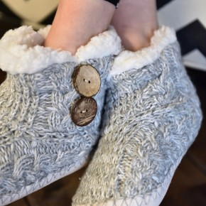 Light Grey Button Knitted Slippers
