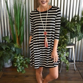 3/4 Sleeve Striped Shift Dress